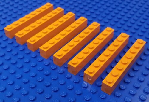 LEGO 8X~eight 1x8 part# 3008 in ORANGE=Prototype//UNKNOWN Color~NOT IN ANY SET