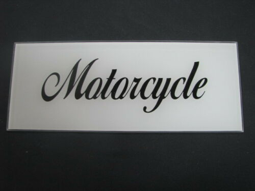 MOTORCYCLE AD GLASS SCRIPT LETTERS