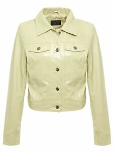 New Womens Ladies Faux Leather PVC Long Sleeves Front Buttons Long Jacket Top
