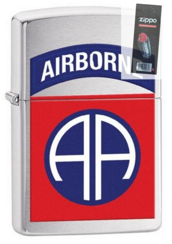 Zippo 29181 US Army 82nd Airborne Brushed Chrome New In Box Lighter + FLINT PACK