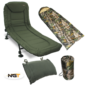 NGT CARP FISHING 6 LEG RECLINER BEDCHAIR + CAMO SLEEPING BAG + BED CHAIR PILLOW