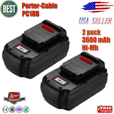 2X 3.0Ah For Porter Cable 18V Battery PC18B PCC489N PCMVC cordless drill 18Volt