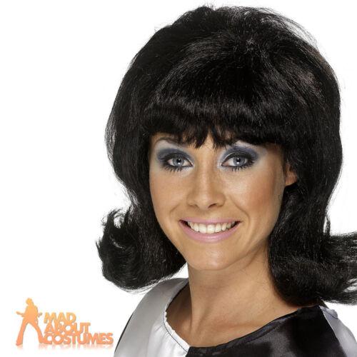 Adult 60s Flick Up Wig Black Womens Ladies Hairspray Fancy Dress Costume