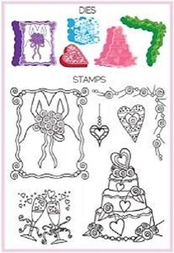 7 Hampton CLEAR Stamps SPELLBINDERS Shapeabilities  WEDDING 5 Dies SC0493