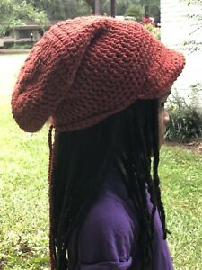 68438f980 Details about Crochet Orange Black Gray Rasta Reggae Dreadlocks Tam Slouchy  Beanie Loc Hat