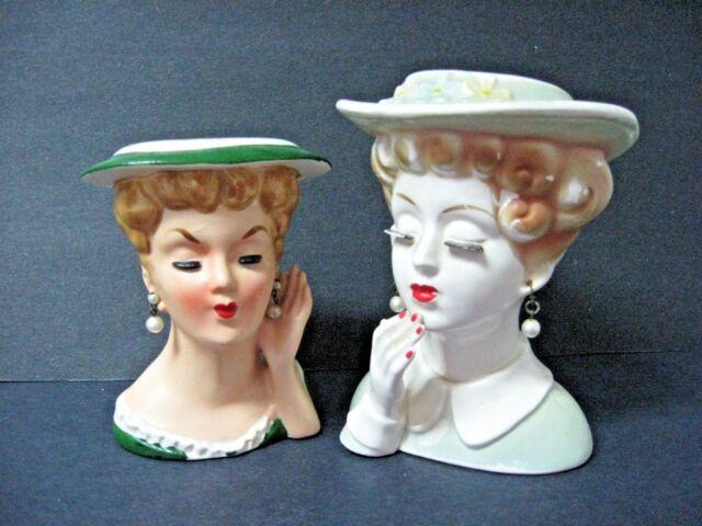 Lot 2 Vtg Lady Head Vases Headvases Eyelashes Pearl Earrings One