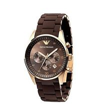 New Authentic Emporio ARMANI Brown CHRONO Women's Watch AR5891(only one send)