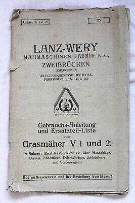 DemüTigen Uralte Gebrauchsanweisung Ersatzteil Liste Lanz Wery GrasmÄher V1 &2 ZweibrÜcken Sonstige