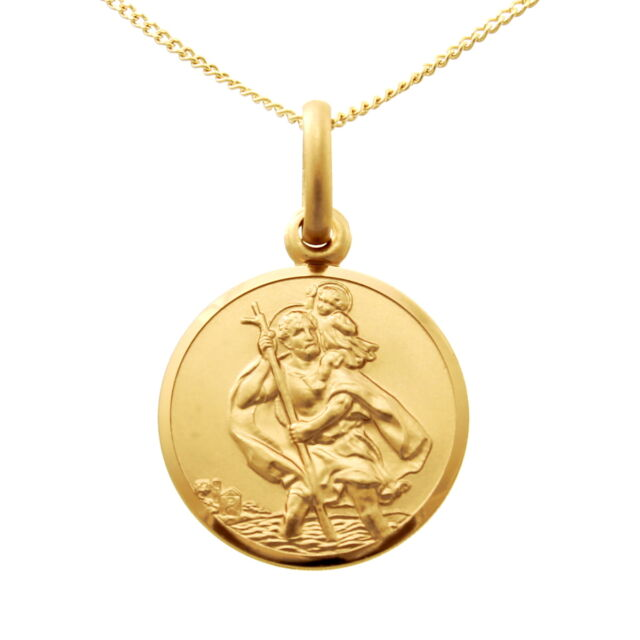 9ct gold st saint christopher pendant chain necklace with 18 chain small 9ct gold st saint christopher pendant chain necklace with 18 chain 14mm aloadofball Images