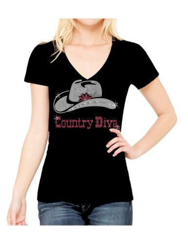 COUNTRY DIVA RHINESTONE COWBOY COWGIRL WESTERN V NECK SHORT SLEEVE TEE SHIRT