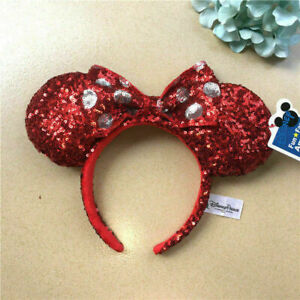 Christmas Minnie Ears 2019.Details About Minnie Mouse Ears Red Sequin Headband Bow Christmas Holiday 2019