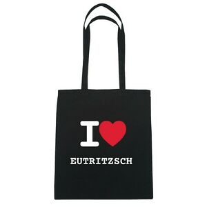 I love EUTRITZSCH - Jutebeutel Tasche Beutel Hipster Bag - Farbe: schwarz