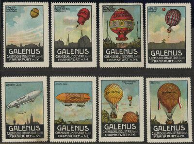 """Luftfahrt & Zeppelin Vignette: 8 Verschiedene Werbevignetten Der """"galenu #2736 Jade Weiß"""
