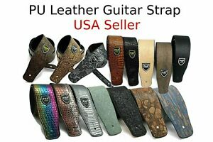 Guitar-Strap-Leather-PU-Plastic-Adjustable-Acoustic-Electric-Bass-Skin-Sparkle