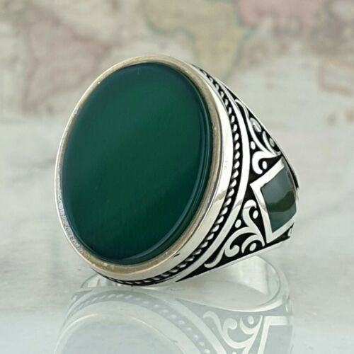Solid 925 Sterling Silver Mens Ring Green Agate Gemstone Turkish Ottoman Style