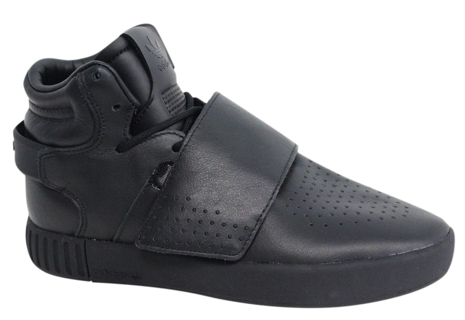 Adidas Tubular Invader Strap Lace Up Mens Hi Black Leather Trainers BW0871 M11