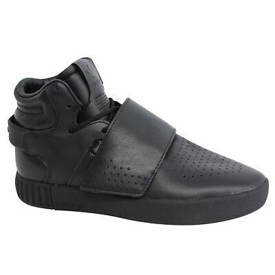 Adidas Tubular Invader Strap Lace Up Mens Hi Black Leather Trainers BW0871 D26