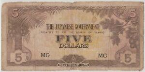 Mazuma *M1288 Malaya Japanese WWII JIM 1942 $5 MG AVF