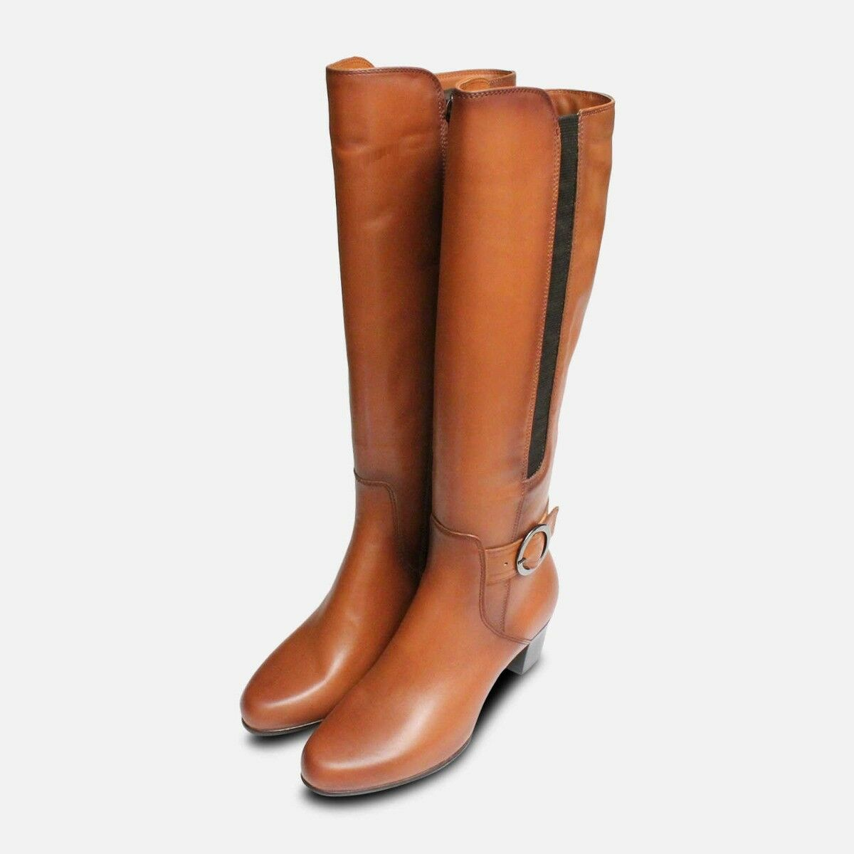 Tamaris Tan braun Leather Knee High Stiefel with Heel