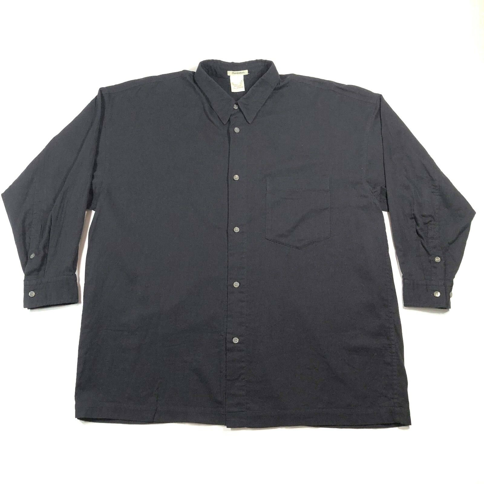 Plantation by Issey Miyake damen M Cotton Button Down Shirt Loose Fit schwarz VTG