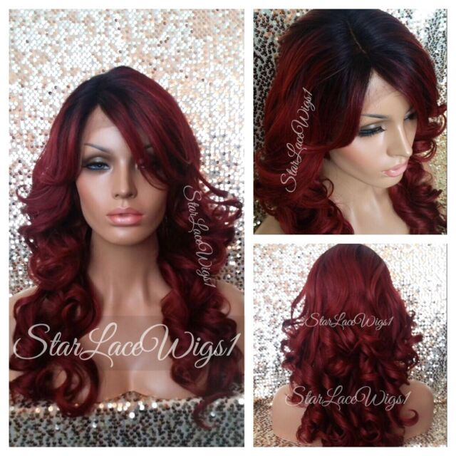 Human Hair Blend Mix Red Curly Wavy Lace Front Wig Heat Safe Ok