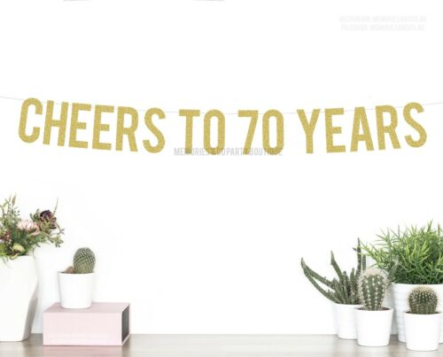 REDLetter Garland 70th SEVENTY Birthday Sign CHEERS TO 70 YEARS Banner