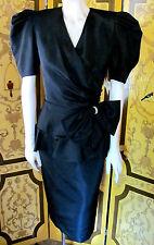 Vintage Fancy 1940s Style Black Taffeta Cocktail Dress With Bow Detail Sz6