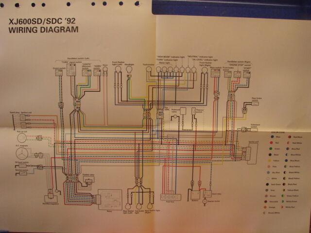 Nos Yamaha Factory Wiring Diagram 1992 Xj600 Sd Xj600 Sdc