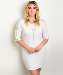 Details about Womens Plus Size Ivory Lace Accent Dress with Necklace 2XL