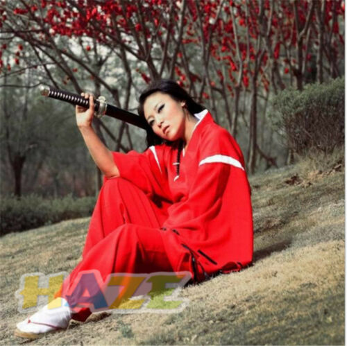 Anime INUYASHA Bright Red Kimono Costume Cosplay Halloween Adult Dress Unisex