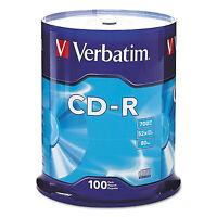 Verbatim Cd-r Discs 700mb/80min 52x Spindle Silver 100/pack 94554 on sale