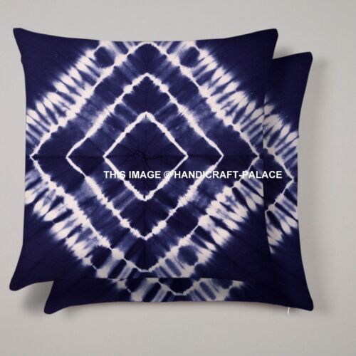 """Indian Tie Dye Shibori Cotton Cushion Cover Home Decor Throw 16/"""" Blue Sofa Sham"""