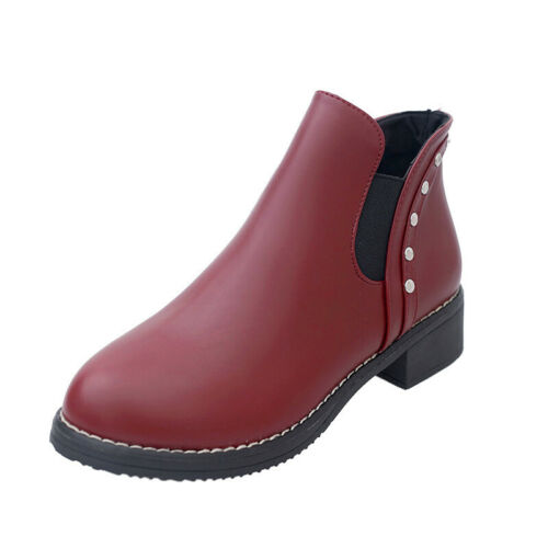 Womens Fashion Casual Chelsea Ankle Boots Slip On Low Block Heel Boots Shoes US