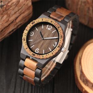 Wooden-Watch-Bamboo-Wirstwatch-Bracelet-Quartz-Wood-Watches-Wood-Leather-Strap