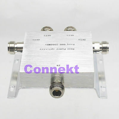 RF coaxial Power Splitter Divider Combiner N 4-way 380-2500MHz signal booster F