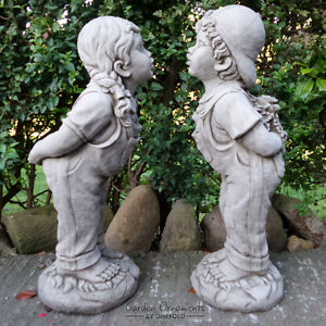 Image Is Loading LARGE JACK AND JILL Hand Cast Stone Garden