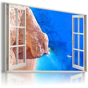 W430-GREECE-3D-Window-View-Canvas-Wall-Art-Picture-Large-SIZE-30X20-034