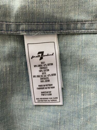 New 7 For All Mankind Denim Button Down Shirt Size L