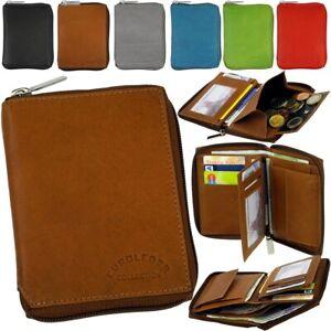 Echtleder-Geldbeutel-Reissverschluss-Geldboerse-flach-Brieftasche-Portemonnaie-Neu