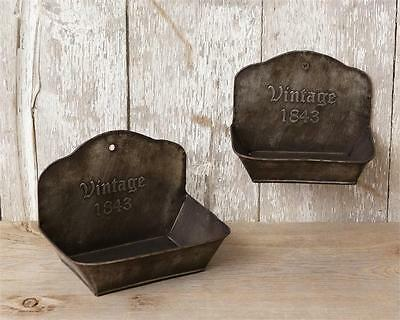New Primitive Farmhouse Tin VINTAGE 1843 SOAP DISH Rusty Metal Wall Soap Holder