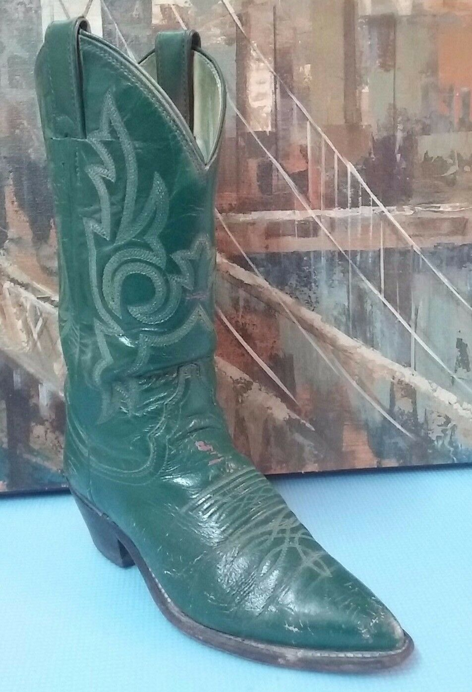 Justin Green Leather Western Boots Womens Sz 6B
