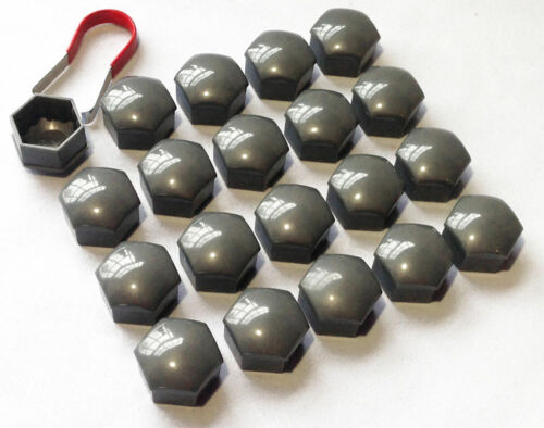 20 x 19MM HEX ALLOY WHEEL NUT BOLT CAPS GREY Removal Tool Lotus Elise