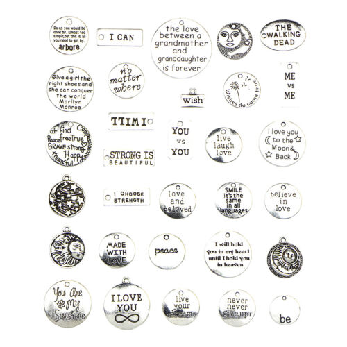 31Pcs Assorted Vintage Carved Inspirational Words Alloy Charms Pendants LOT