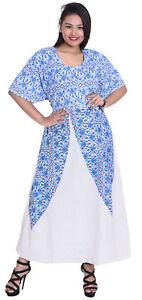 Indian-Cotton-Women-Summer-Long-Dress-Geometric-Print-White-Color-Plus-Size
