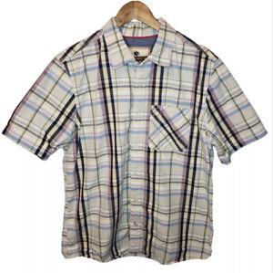 Mens-Fat-Face-Button-Up-Shirt-Large-L-Short-Sleeve-Casual-Pastel-Plaid-Print