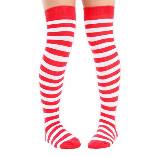 Womens Christmas Over the Knee Socks Red Green ELF Holly Red Santa UK 4-6.5
