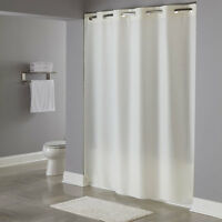 "Focus Hookless Plain Weave Beige Fabric Shower Curtain 71""X 74"" NIP shower bath"