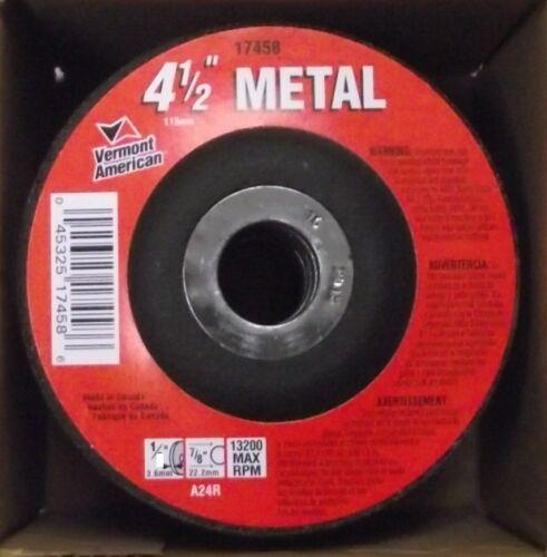 "Vermont American 17458 4-1//2/"" X 1//8/"" X 7//8/"" Metal Cutting Grinding Wheel 10pcs"