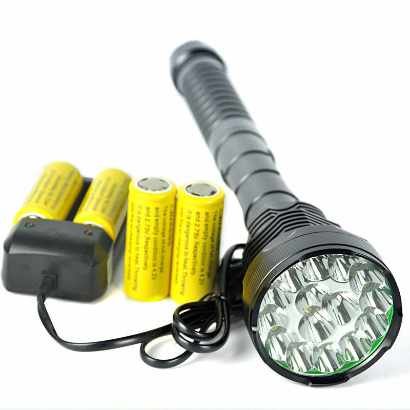 18000Lm Tactical XM-L 15 T6 Hunting Flashlight Work Lamp SOS Hiking Light 26650