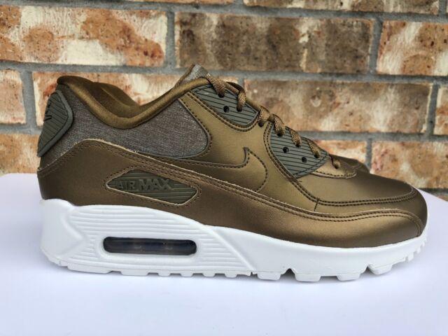 Women's Nike Air Max 90 Premium Running Shoes Metallic Field Gold 896497 901